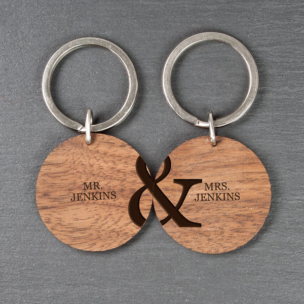 Couple's Set of Two Personalised Wooden Keyrings