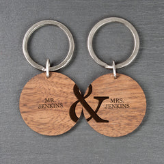 Couple's Set of Two Personalised Wooden Keyrings - Luxe Gift Store