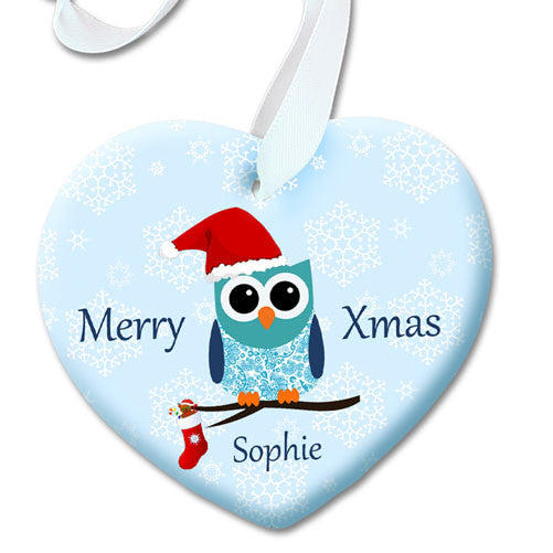Baby's First Christmas Personalised Cute Owl Decoration - Blue or Pink