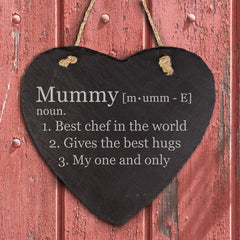 Mums' Personalised 'Definition of Mummy' Heart Hanging Slate Keepsake -