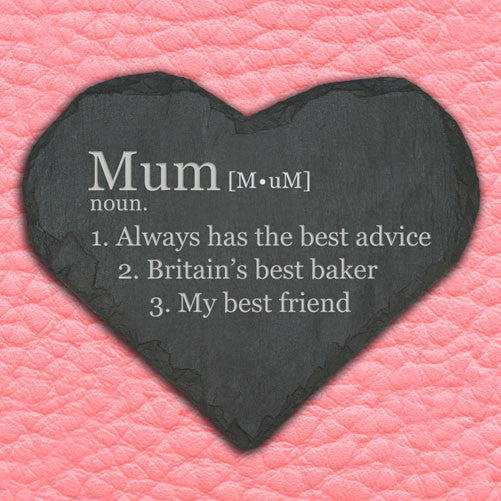 Mum's Personalised 'Definition of Mummy' Heart Slate Keepsake