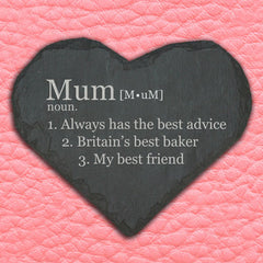 Mum's Personalised 'Definition of Mummy' Heart Slate Keepsake - Luxe Gift Store