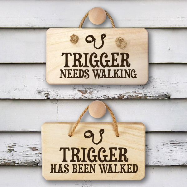 Dog's 'Needs Walking' Personalised Wooden Sign