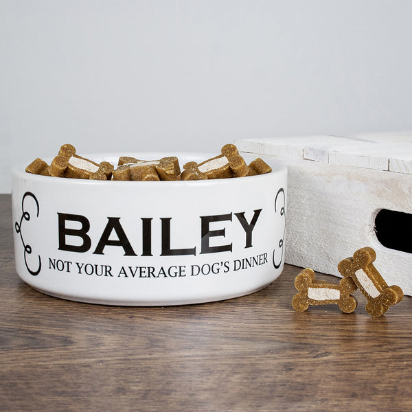 Dog's Personalised 'Dogs Dinner' Dog Food Bowl