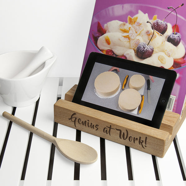 Kitchen Personalised Tablet or Recipe Book Wooden Holder (Double)