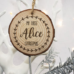 Baby's First Personalised Christmas Tree Wooden Decoration - Unisex - Luxe Gift Store