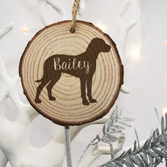 Dog's Personalised Silhouette Christmas Tree Wooden Decoration - Luxe Gift Store