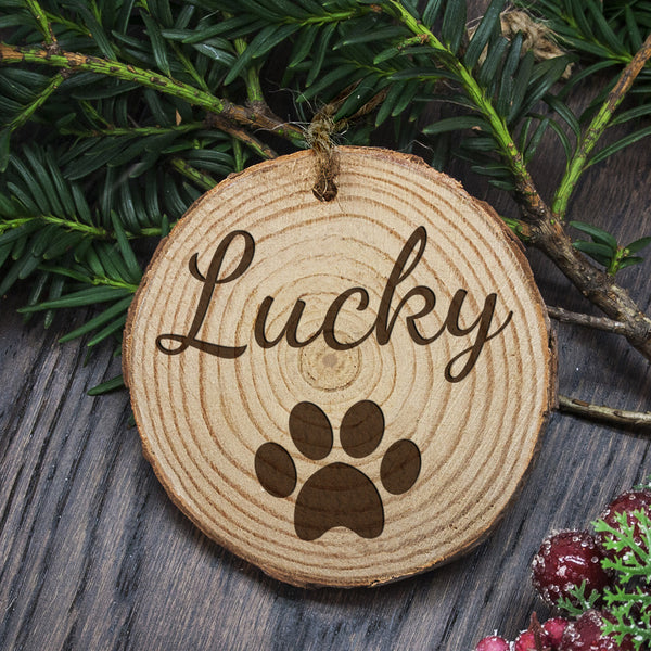 Christmas Family Dog's Personalised Wooden Tree Decoration