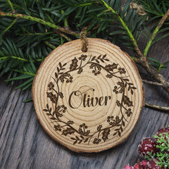 Christmas Tree Personalised Holly Wreath Decoration - Luxe Gift Store