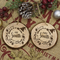 Couple's Set of Two Personalised Christmas Tree Wooden Decoration - Luxe Gift Store
