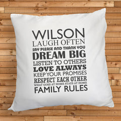 Family Rules Personalised Cushion Cover - Luxe Gift Store