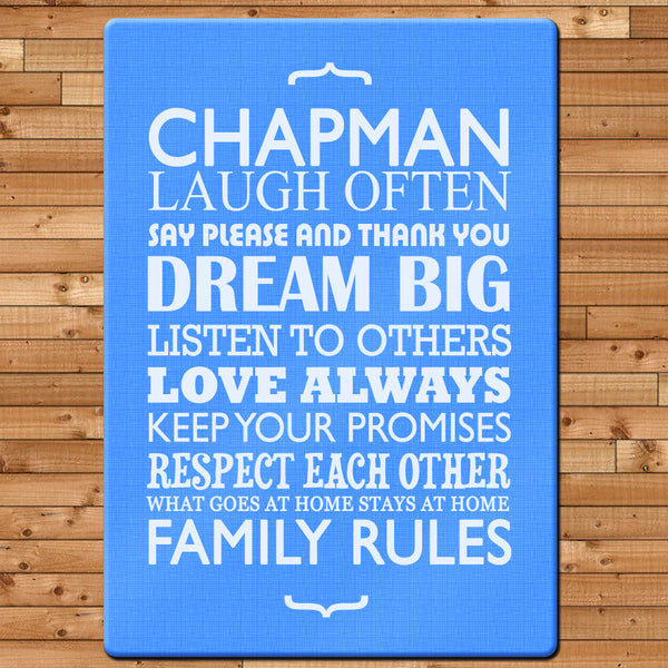 Family Rules Personalised Glass Chopping Board - Blue, Grey or Pink