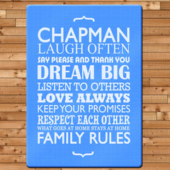 Family Rules Personalised Glass Chopping Board - Blue, Grey or Pink - Luxe Gift Store