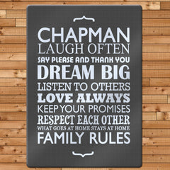 Family Rules Personalised Glass Chopping Board - Blue, Grey or Pink -  - 2