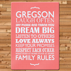 Family Rules Personalised Glass Chopping Board - Blue, Grey or Pink -  - 3