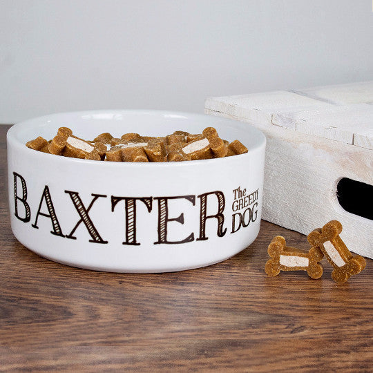 Dog's Personalised 'Greedy Dog' Bowl
