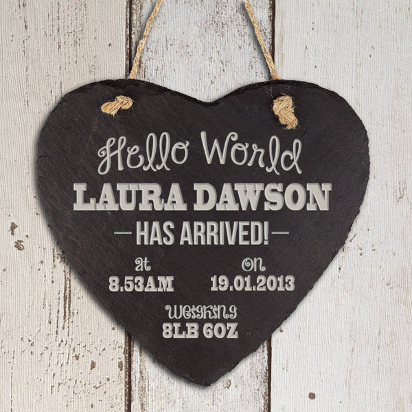 Baby's Personalised Hello World Slate Heart Keepsake - Unisex