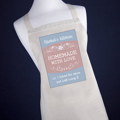 Personalised 'Homemade With Love' Apron - Blue or Green - Luxe Gift Store