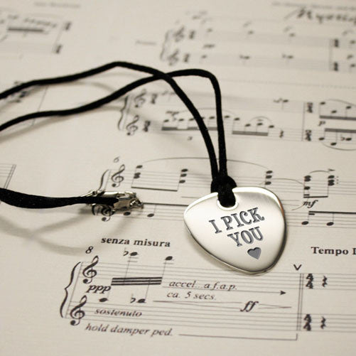 'I Pick You' Personalised Plectrum Pendant
