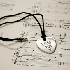 'I Pick You' Personalised Plectrum Pendant - Luxe Gift Store