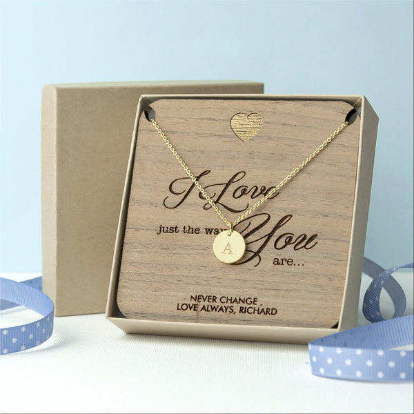 'I Love You' Single Charm Personalised Necklace - Gold (Shown), Rose Gold or Silver
