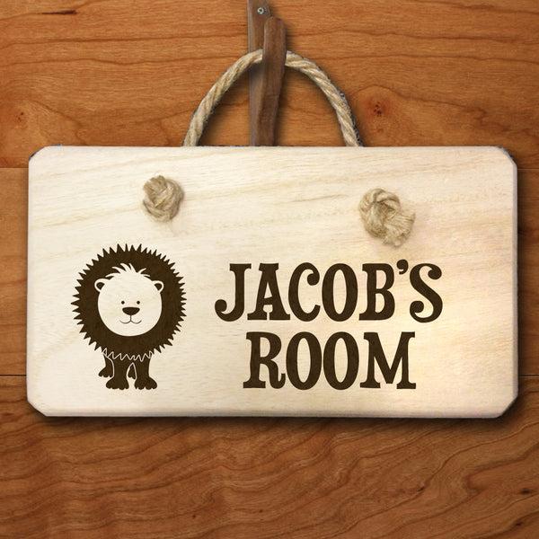 Baby Boy's Personalised Lion Engraved Wooden Door Hanger