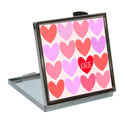 Girl's Personalised Love Hearts Compact Mirror