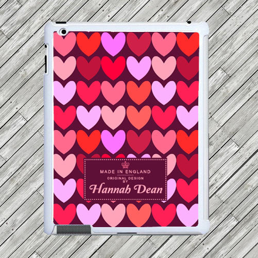 Girl's Personalised Love Hearts Tablet and iPad Case - Purple or Pink