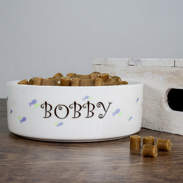 Cat's Personalised 'Male Fishy' Cat Bowl