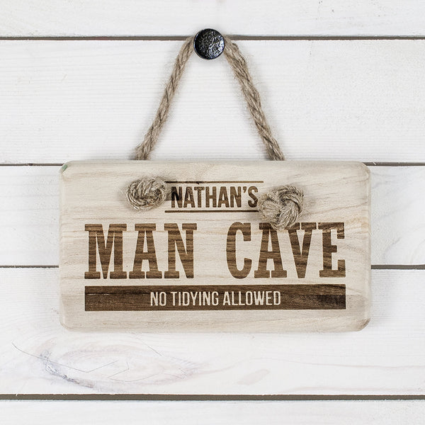 Men's Personalised MAN CAVE Wooden Sign