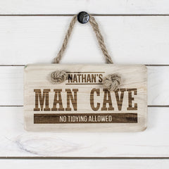 Men's Personalised MAN CAVE Wooden Sign - Luxe Gift Store