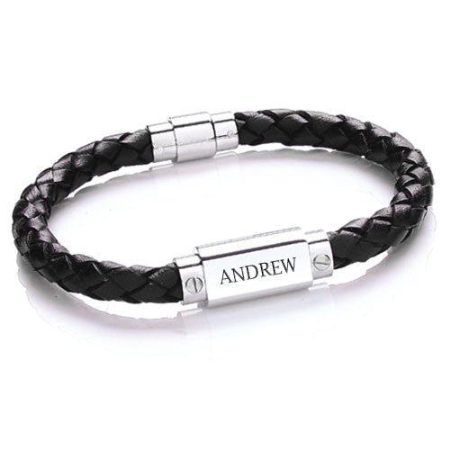 Men's Personalised Leather Bracelet - Black Shown