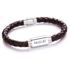 Men's Personalised Leather Bracelet - Black or Brown - Luxe Gift Store - 2