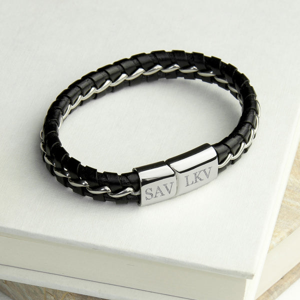 Men's Personalised Metal Detailed Leather Bracelet - Black