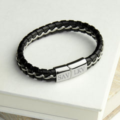 Men's Personalised Metal Detailed Leather Bracelet - Black - Luxe Gift Store