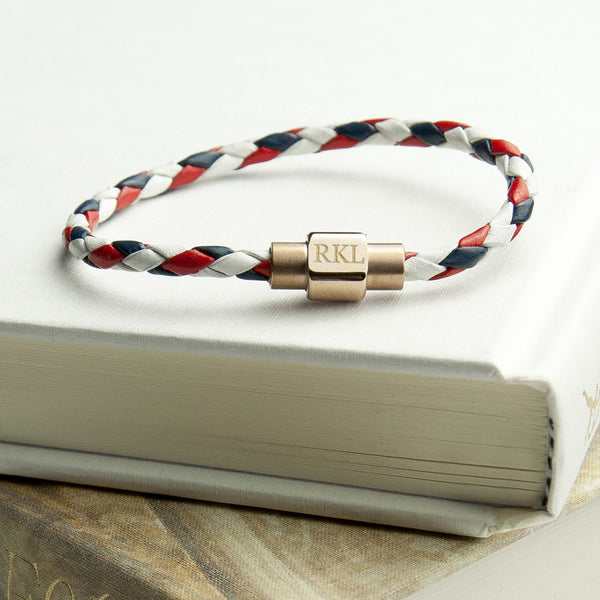Leather Bracelet With Gold Clasp - Nautical Shown