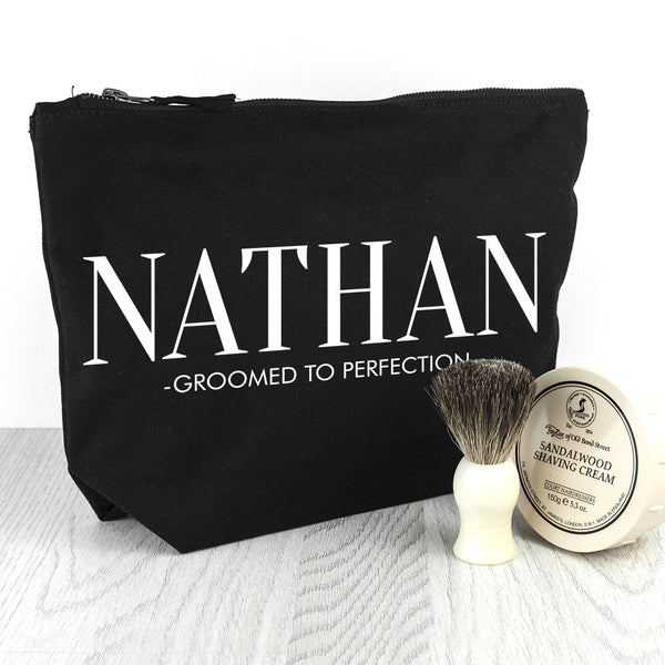 Men's Personalised Men's Wash Bag in Black