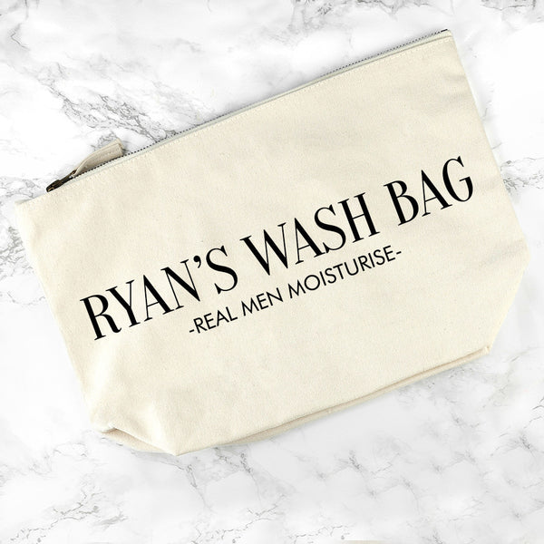 Men's Personalised Men's Wash Bag in Cream