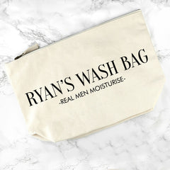 Men's Personalised Men's Wash Bag in Cream - Luxe Gift Store