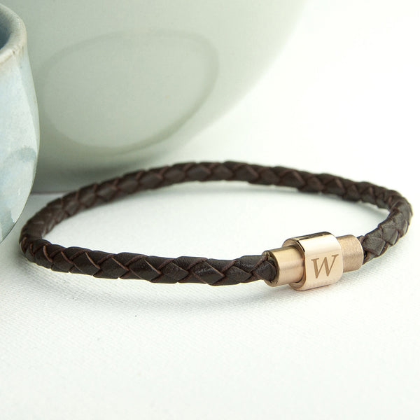 Leather Bracelet With Gold Clasp - Brown Shown
