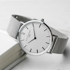Silver Metallic Mesh Watch Personalised With White Dial