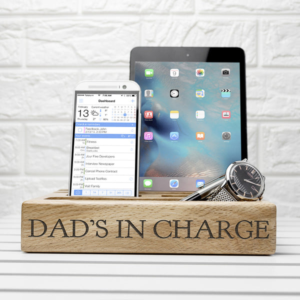 Mobile Phone & Tablet Oak Personalised Holder for Him