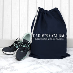 Men's Personalised Cotton Navy Gym Bag