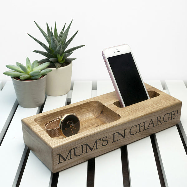 Mobile Phone Personalised Oak Stand for Her