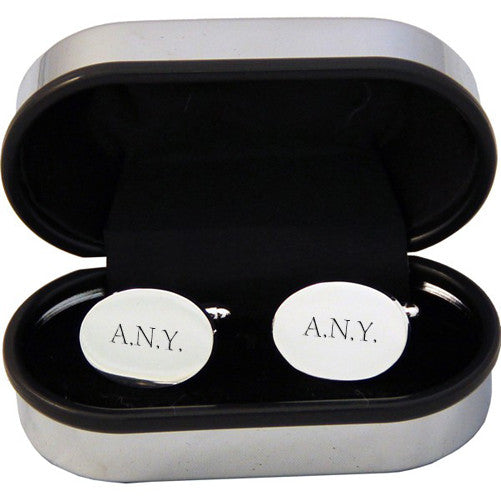 Men's Personalised Oval Silver Plated Cufflinks