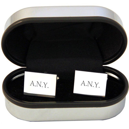 Men's Personalised Rectangle Silver Plated Cufflinks