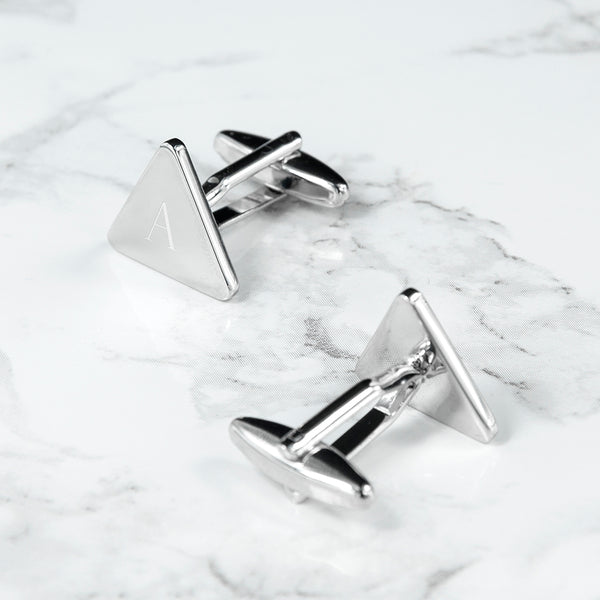 Rhodium Plated Triangle Personalised Cufflinks