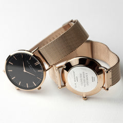 Rose Gold Mesh Personalised Watch With Black Dial - Luxe Gift Store
