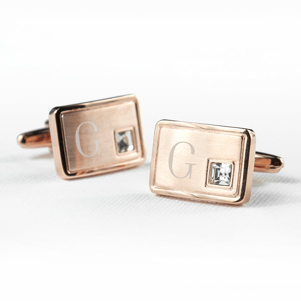 Rose Gold Plated Personalised  Cufflinks With Crystal