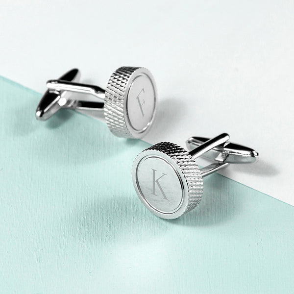 Round Rhodium Plated Personalised Cufflinks